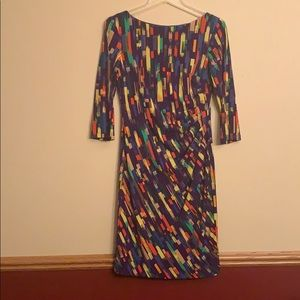 Size 4 multi-color dress. Very flattering!
